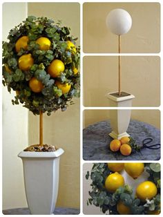 🍀Cub & Clover 🍀 Make a lemon and eucalyptus topiary: With time, the fruit and foliage will dry nicely, creating a long-lasting arrangement that can be refreshed with a quick spritz.