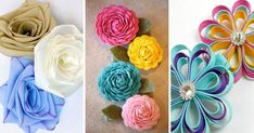 Create easy ribbon flowers with these step by step tutorials. Ribbon flowers are great for headbands, dresses, home decor and so much more! Satin Ribbon Flower Making, Ribbon Flower Tutorial, Ribbon Rosettes, Satin Ribbon Flowers, Wired Ribbon, Fabric Flowers, Ribbon Crafts, Flower Crafts, Paper Crafts
