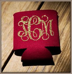 Glitter Monogram Koozie Monogram Koozie Can by Pressed2Impress, $6.00