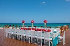 Now Jade Riviera Cancun  A wedding set-up shot that overlooks the stunning blue waters of the Caribbean Sea.