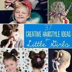 37 Creative Hairstyle Ideas For Little Girls: fun ideas if you are in a rut.  For some of them, if they can hold still you are in luck, too.