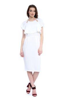 Rochie alba cu volane AM-21702107 -  Ama Fashion Cold Shoulder Dress, Dresses, Fashion, Vestidos, Moda, Fashion Styles, The Dress, Fasion, Dress