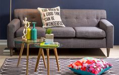 Love the carpet and sofa, with slash of colour Mr Price Home, Sofa, Couch, Love Seat, Carpet, Side Tables, Inspiration, Colour, Furniture