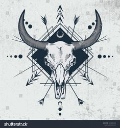 Bull Skull Engraving Graphic Technique Vector Stock Vector (Royalty Free) 1069883690 - Bull skull in ink graphic technique. Vector illustration of bull skull with sacred geometry shapes - Bull Skull Tattoos, Bull Skulls, Skull Tattoo Design, Cow Skull, Skull Design, Flower Tattoo Designs, Skull Art, Animal Skulls, Ox Tattoo