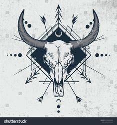 Bull Skull Engraving Graphic Technique Vector Stock Vector (Royalty Free) 1069883690 - Bull skull in ink graphic technique. Vector illustration of bull skull with sacred geometry shapes - Bull Skull Tattoos, Bull Skulls, Skull Tattoo Design, Cow Skull, Skull Design, Flower Tattoo Designs, Skull Art, Ox Tattoo, Taurus Tattoos