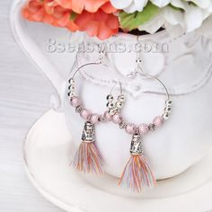 Wholesale New Fashion Earrings Round Silver Plated Acrylic Mauve Beads With Cotton Multicolor Tassel – 8seasons.com