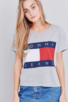 Tommy Jeans - T-shirt droit court gris exclusivité UO