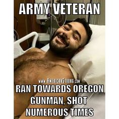 "Define American-Strong: Chris Mintz 30 year old Army veteran who served for 10 years is currently in the hospital after suffering numerous gunshot wounds during the Oregon community college shooting on Thursday that left 10 dead. It was only his 4th day of classes and Thursday was also his son's 6th birthday.  Chris tried blocking one of the doors at the school to prevent the gunman from entering was shot 3 times and fell to the floor. He looked up at the gunman and said ""it's my son's…"