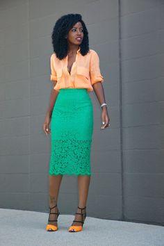 Safari Style Button-Down + Lace Pencil Skirt