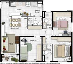 Lar Doce Lar: Planta com 60m2 com 1 suíte e 2 quartos com sala de estar e jantar cozinha área de serviço e banheiros.