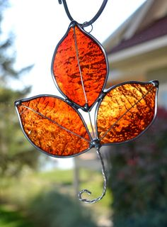 $12 Flame Red Stained Glass Autumn Leaf (Etsy)
