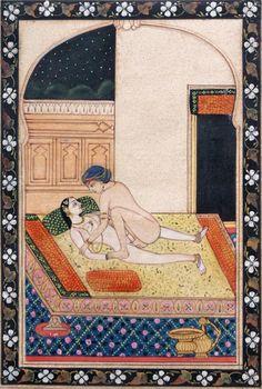 I found this lot on PrivateLot : Asian Art - Miniature indienne érotique représentant une scène érotique d´un couple sur une terrasse<br /> Ecole de Pahari, Rajasthan, XIXème s.<br /> <br />  13,5 x 19,5 cm.