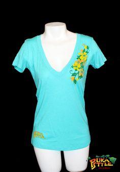 Womens Tahiti Blue Tri-Blend Short Sleeve
