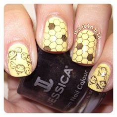 Orly - Lemonade stamped with Jessica - Moon Bean. Bees Bundle Monster BM301. Honeycomb Winstonia W113.