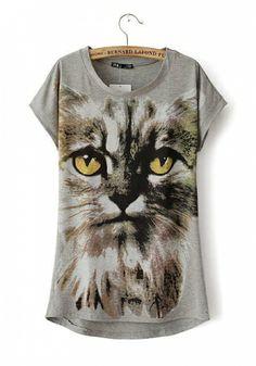 Grey Blending Round Neck Short Sleeve Animal Prints TOPS