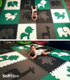 Create your own custom designer play mat with SoftTiles Interlocking Foam Mats. This play mat uses SoftTiles Safari Animals and a turtle from our Sea Animals collection in black, gray, white, and green foam mats. Your child's playroom will be the envy of the neighborhood!