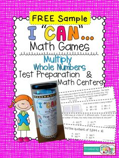 """FREEBIE!!! Check out this free sample of my """"I CAN"""" math games! This one focuses on MULTIPLYING Whole Numbers!  Perfect for Math Centers."""
