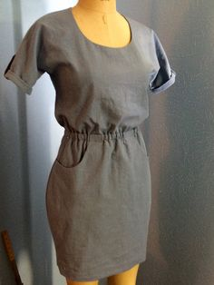 Bettine Dress from Tilly and the Buttons - grey French terry-love the cut