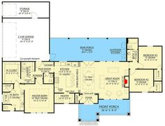 Plan Split Bedroom Modern Farmhouse Plan with with Large Walk-in Pantry Plan Split Bedroom Modern Farmhouse Plan mit mit großer begehbarer Speisekammer Ranch House Plans, New House Plans, Dream House Plans, Small House Plans, House Floor Plans, Architecture Design, Architectural Design House Plans, Architecture Panel, Architecture Portfolio