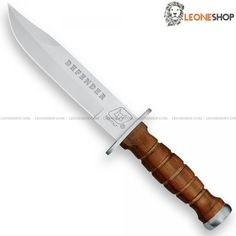 "Tactical Military knife Defender FOX Italy, military tactical knives with fixed blade of 440C stainless steel of high quality with bead blast finishing - HRC 57/59 - Blade lenght 7.1"" - Thickness 0.2"" - 430 stainless steel guard - Rosewood handle a precious wood, tough, durable and with high porosity dark brown with black streaks - 430 Stainless steel pommel - Overall lenght 12.4"" ​​- Equipped with black Eco-Leather sheath."