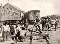 Who Knows East - Old Photographs July 3 · Title: [Military railroad operations in northern Virginia: men using levers for loosening rails] Contributor Names: Russell, Andrew J., photographer. United States. Army. Military Railway Service. Created / Published: [ca. 1862 or 1863]. United States Civil War, 1861-1865. Rights Advisory: No known restrictions on publication.