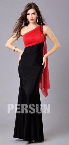 afa9c2757bd Robe de bal longue sirène contraste rouge noire ornée de bijoux