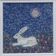 Hare & Moon In The Soft Scented Garden  embroidered artwork-stitched original.