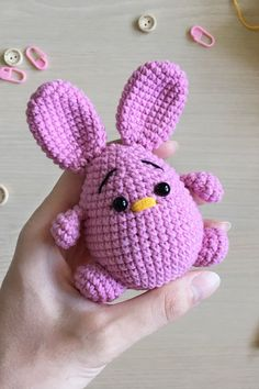 Projects Easter This pink crochet bunny is ideal present for little girl! It is small enough to carry around. It doesn't take a lot of place and you can take it with you. It can be used like small souvenir or little gift for your friends or relatives. Funny Easter Bunny, Easter Toys, Easter Gifts For Kids, Easter Crafts, Easter Crochet, Crochet Bunny, Cute Crochet, Amigurumi Patterns, Crochet Patterns