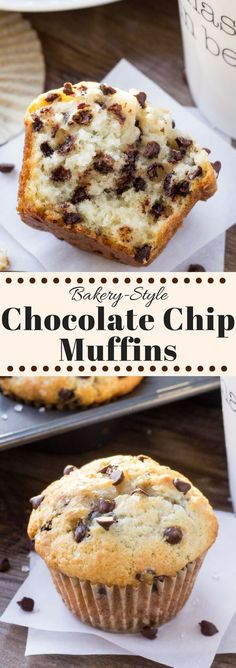 Big, buttery, fluffy & filled with chocolate chips - these bakery style chocolate chip muffins will be your new favorite. | Posted By: DebbieNet.com