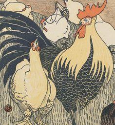 Twee Hanen / sprookje van H. C. Andersen ; op steen geteekend door T. v. Hoytema   Gallica