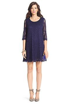 DVF Martina Lace Shift Dress in Midnight by DVF