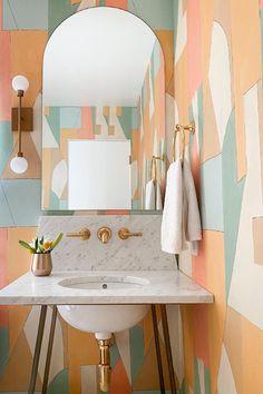 A geometric powder room that packs a punch 💥 💡 Mara Wall Sconce by Sean Lavin. Design: Alison Pickart. Powder Room Lighting, Circa Lighting, Led Module, Lighting Design, Wall Sconces, Punch, Bathrooms, Wall Decor, Retro