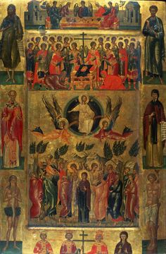 ''Ascension of Christ with the Hetoimasia'' by hand of Andreas Ritzos (1421-1492), was a Greek icons painter.