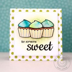 Sunny Studio Stamps: Sweet Shoppe Watercolored Cupcake Card Set by Anni Lerche. Sunnies Studios, Cupcake Card, Studio Cards, Bird Cards, Sweet Words, Homemade Cards, Note Cards, Cardmaking, Birthday Cards