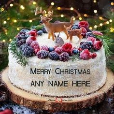 write name on pictures with eNameWishes by stylizing their names and captions by generating text on Cute Christmas Wishes Cake with Name Generator with ease.