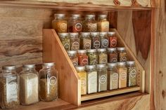 Organize your kitchen spice rack or spice cabinet into a space efficient and uniform looking way with our sets of French style glass spice jars with stylish spice labels SpiceLuxe! Pantry Shelf Organizer, Spice Organization, Bathroom Organization, Organizing, Kitchen Spice Racks, Glass Shelves Kitchen, Diy Spice Rack, Wood Spice Rack, Spice Shelf