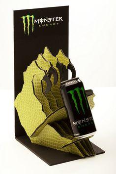 Monster Energy Assault Ads & POP Display by JoAnn Arello, via Behance Amalia; increible diseño de PLV de Monster, queda muy bien con su producto, ya que desctaca la mano de un monstruo enorme