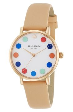2a2440846b167c kate spade new york 'metro' dot dial leather strap watch, 34mm | Nordstrom