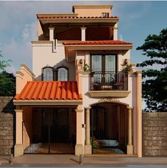 3 Storey House Design, Bungalow House Design, Luxury Homes Exterior, Mexico House, Architectural House Plans, Vintage House Plans, Cool House Designs, Minimalist Home, Modern Architecture