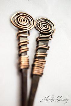 Spiral Meditation Copper Hair Sticks: Solid copper hair sticks, copper wrapped.