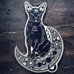 black cat henna geometric pattern tattoo inspiration