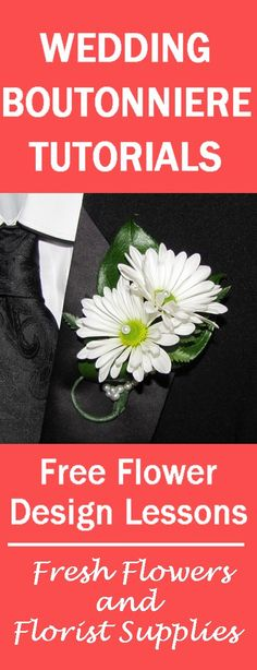 Boutonniere Flower Tutorial - Double Daisy with Pearls  Learn how to make wedding bouquets, bridal corsages, grooms boutonnieres, table centerpieces and church wedding decorations.  Buy wholesale flowers and discount florist supplies.