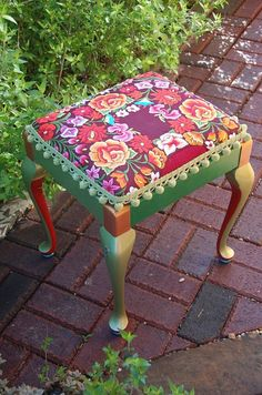 Bright Floral Embroidered and Painted Square Bench by pridadesign