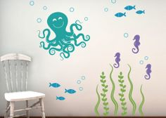 Sea Ocean Friends Wall Decal Set - Octopus Set  Love this!  Great for the bathroom! tweetheartwallart.com