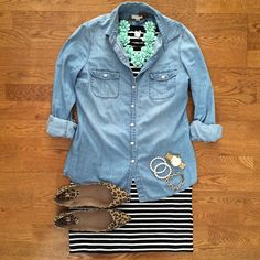 Striped Dress, Chambray Shirt, Mink Flower Necklace, Leopard Flats   #weekendwear #casualstyle #springstyle   IG: @whitecoatwardrobe