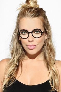 'Lyric' Unisex Round Clear Glasses - Tortoise - 5595-2