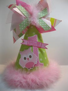 Girls Personalized Light Green and Pink Owl Birthday Party Hat. $13.25, via Etsy.