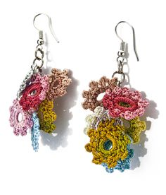 Inspiration--Handmade Crochet Earring with Turkish Lace, Oya Flowers