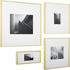 Shop Gallery Brass Frames with White Mats. Exhibit your favorite photos and images gallery-style. White mat floats an image within a sleek picture frame of brass-finished aluminum. 8x10 Picture Frames, Modern Picture Frames, Picture Wall, Photo Wall, Diploma Display, Interior Design Themes, A Frame Cabin, Frame Stand, Oriental Design