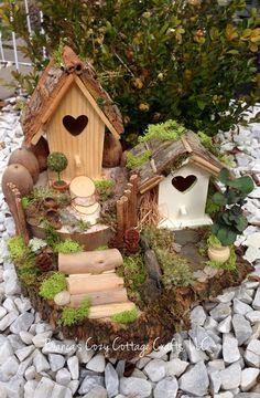 birdhouse fairy house miniature bird house by BsCozyCottageCrafts